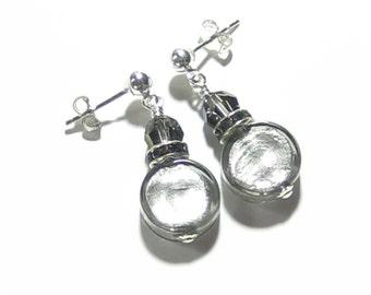 Murano Glass Grey Silver Post Earrings, Leverback Earrings, Lampwork Glass Foil Earrings, Glass Crystal Earrings, Venetian Glass Jewelry