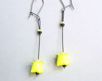 Neon yellow Lotus flower Origami earrings