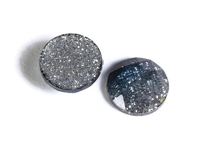 12mm Blue grey silver glitter cabochon - Sparkly cabochons - Galaxy glitter cabochon - 12mm Kawaii cabochon (1555) - Flat rate shipping