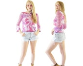Tie Dye Girls 90s Crop Top, 90s Kawaii, Vintage Floral Embroidery Long Sleeved Top, Women's Size XS/Small