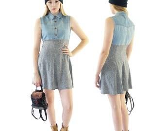 Denim 90's Floral Button Down Mini Dress, 90's Grunge, Rayon Skater Dress, Women's Size 7