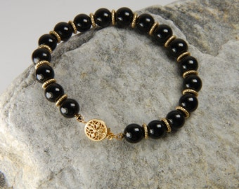 Black and Gold Bracelet Black Onyx Beaded Bracelet Handmade Black Bracelet Black Beaded Bracelet