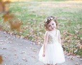 Cream and Gold Floral Crown - Floral Halo Floral Boho Headband Newborn Photo Prop Shabby Chic
