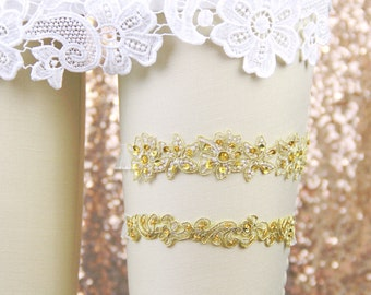 Gold Beaded Lace with Ivory Ruffle Elastic Garter Set,Gold Wedding Garter,Chic Wedding Garter,Bridal Gold Garte