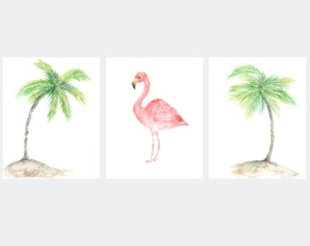 Watercolor print, beach art, palm leaves print, flamingo print, watercolor flamingo, tropical art, set of 3 tropical prints, 8X10