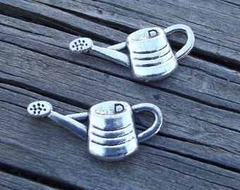 2 silver tone Water can charms / Watering can pendants / jewelry finding / jewelry supplies / craft supplies / mixed media / gardening charm