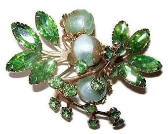 "Beau Jewels Brooch Pin Green Rhinestones & Mint Green Crystal Beads Gold Metal Flower 2 1/2"" Vintage"