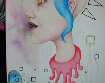 PUNK Girl - Original Art - ACID Trip - Painting - Pattern - Blood - Squares - Blue Hair - Butterfly