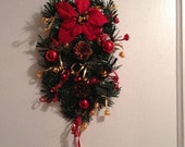 Small Christmas Door Swag, Poinsettia Front Door, Holiday Door Swag,  Winter Wreath, Small Swag
