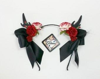 Lolita Antler Headband-Gothic Headband-Lolita Gothic Headband-Horn-Antler-Black-Goth-Gift For Her-Halloween-Lolita-Classic Lolita