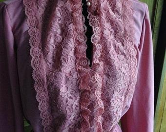 80s Does Victorian Vintage Dress Mauve