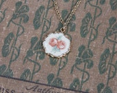 Vintage Flower Pendant Necklace / 50s Gold Tone Rose Guilloche Style Flower Print / Rosy Girl / Victorian Revival