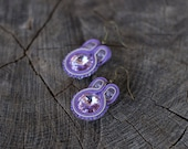 SALE Dangle small soutache earrings. Dangling soutage jewelry. Violet purple soutache earring. Soutache jewelry.  Rivoli crystal.