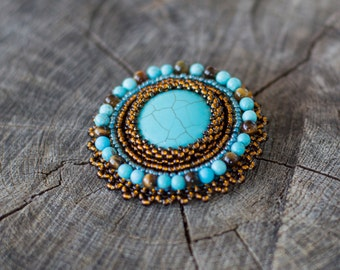 SALE bead embroidery brooch - turquoise brown embroidered brooch - handmade pin - round brooch - cabochon brooch - Beaded Brooch -