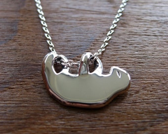 Silver Sloth Handmade Pendant Necklace
