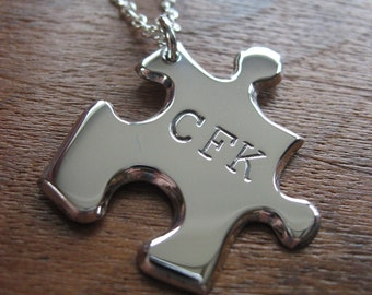 Silver Puzzle Pendant with Three Initials