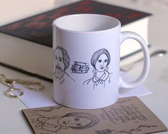 Famous Authors Mug Book Worm Mug Cute Mug Jane Austen Mug William Shakespeare Mug