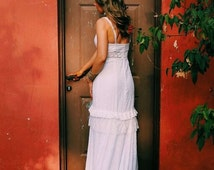 Beach Wedding Dress Eyelet Cotton Wedding Dress Unique Wedding Dress Flamenco Wedding Dress Paulastudio Wedding Dress Hippie Wedding Dress