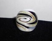 White and Purple Glass Swirl Ring