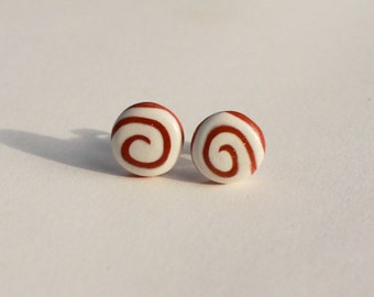 Small Circle Post Earrings, swirl earrings, gold and white stud earrings, gold studs, white studs, boho earrings, everday stud earrings