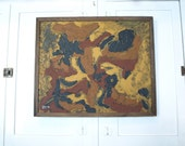 Vintage abstract mid century modern wood framed painting wall hanging amateur outsider art