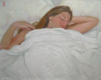 Slumber. Original Figurative Oil painting on canvas panel, 35 x 45 cm(13.8 x 17.7in). Free Shipping Worldwide