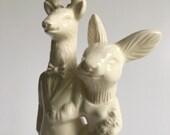 Deer and Rabbit Ceramic Wedding Cake Topper