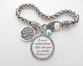 Initial Charm Bracelet with Scripture Jewelry, Bible Verse, Encouragement Faith Strength Phillipians 4:13 Inspirational Monogram Bracelet