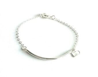 Silver Bar Heart Bracelet, Delicate Silver Bracelet, Minimal Bracelet, Dainty Silver Bracelet, Thin Silver Bracelet, Silver Chain Bracelet