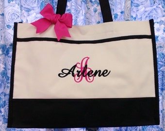 Set of 6 Personalized Bridesmaid Tote Bags, Wedding Gifts, Bridal Party Gifts, Monogrammed Bags