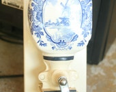 Reserved for Ms. Hall, PE DE Dutch Wall Hanging Coffee Grinder, White, Blue, Home Decor, Kitchen Decor, Coffee