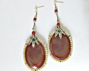 1920 s  Carnelian Glass and Pearl, Large Dangling Art Deco Roaring Twenties Earrings