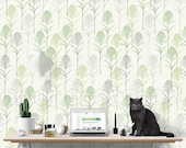 Peel and Stick Wallpaper, Palm Leaf Peel and Stick Wallpaper, Removable and Repositionable, Green and Warm Gray W1032