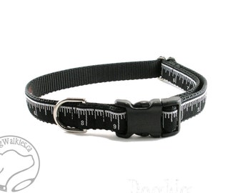 """Platinum Measure - Dog Collar - 3/4"""" Wide (19mm) - Martingale or Quick Side Release - Your Choice of collar style and size // Black // Gray"""