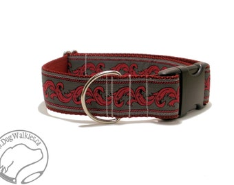 "SALE Red Rococo Dog Collar // 1.5"" (38mm) Wide // Martingale or Quick Release // Choice of collar style and size // Charcoal // Deep Red"