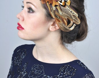 Feather Fascinator Hair Clip in Mixed Natural Copper Pheasant Feathers