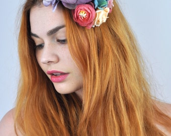 Bohemian Roses Flower Hair Clip Headpiece