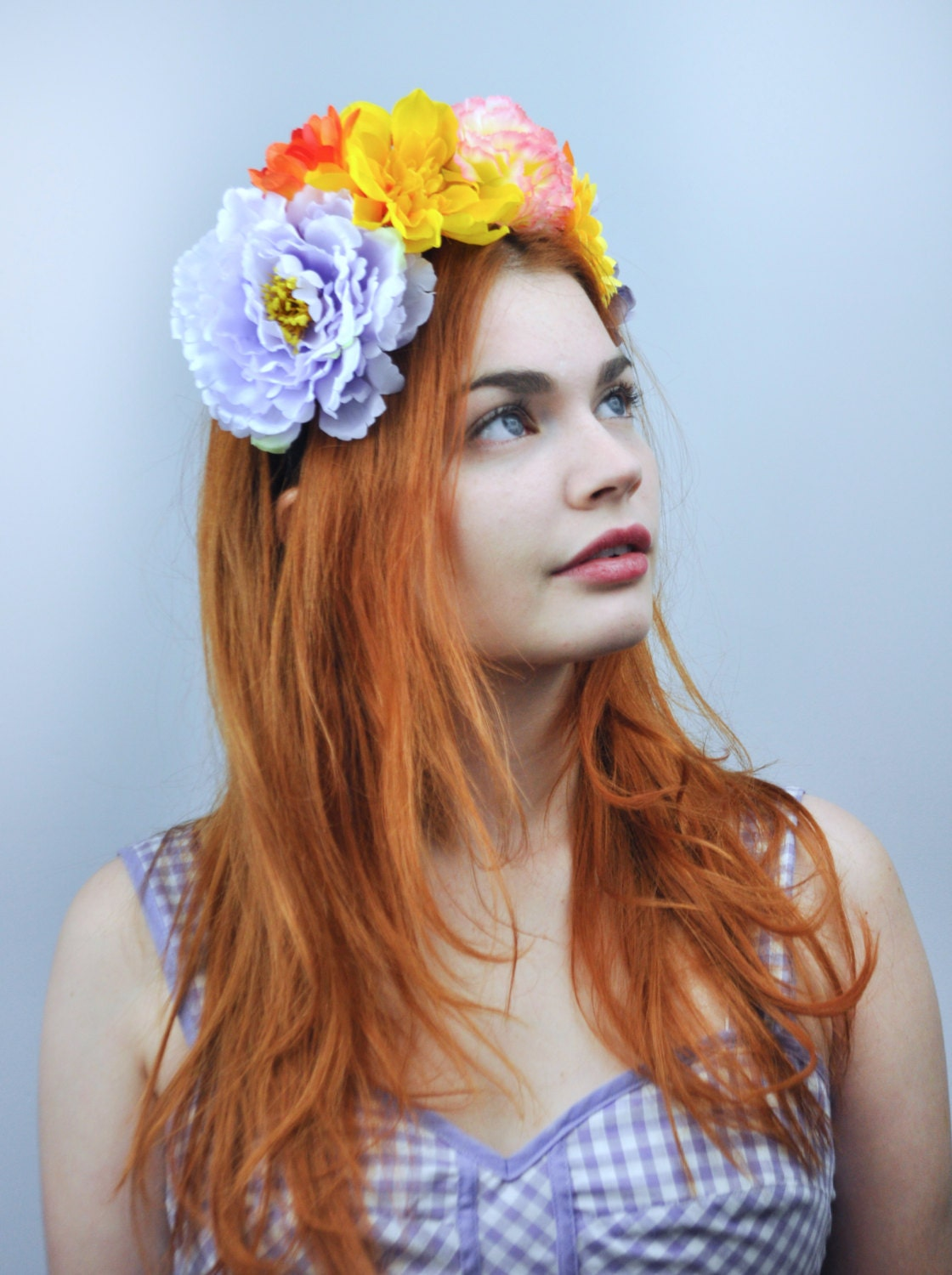Sale Dramatic Festival Flower Crown Headpiece In Lilac And Yellow