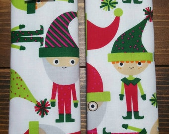Reversible Ann Kelle Jingle Elves on White with Red Dimple Cuddle Minky Baby Christmas Holiday  Unisex Car Seat Strap Covers ITEM #028