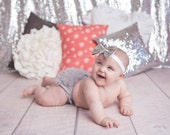 Silver Baby Headband - Baby Girl Headband - Newborn Headband - Baby Shower - Baby Girl - Baby - Headbands - Bow Headband - Infant Headband