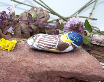 Duck, painted rock, birds, fairy garden miniatures, fairy garden accessories, terrarIum, dolls & miniatures, earthspalette