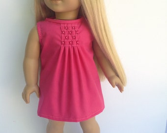 Pink pleated doll dress, 18 inch doll clothing, summer doll dress, sleeveless dress
