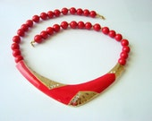 Modernist Bright Red Enamel Rhinestone Lucite Bead Necklace / Gold Plate   / 80s Vintage Jewelry / Jewellery