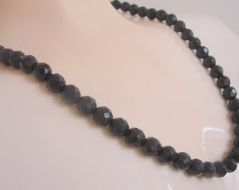 60s Basic Black Glass Bead Necklace / Black Faceted Glass Beads / Ornate Clasp / Vintage Jewelry / Jewellery