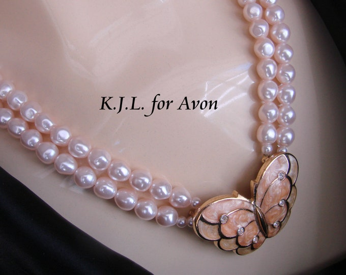 Kenneth J. Lane Avon Modernist Butterfly Rhinestone Pearl Statement Necklace / Papillon Collection / Vintage Jewelry