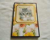 Book Style covered handmade note pad kitten