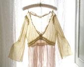 1920's Style Downton Abbey Victorian Boho Bohemian Gypsy Ruffles Neckline Blosue Top French Lace Silk Beige Cream Bell Sleeves Great Gatsby