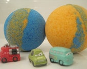 Car bath bombs - kid friendly bath bombs with a surprise squinky vehicle inside