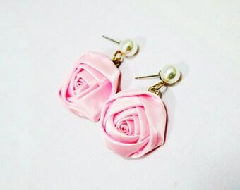 Pink Rose Earrings, Rose Pearl Earrings, Rose Fabric Earrings, White Pink Earrings, Pastel Earrings, Pearl Stud Earring, Big Rose Earrings
