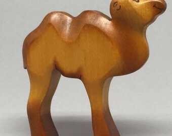Toy two humped camel Bactrian camel Baby wooden brown colourful Size: 8,0x 9,0 x 2,0 cm (bxhxs)  approx. 34 gr.